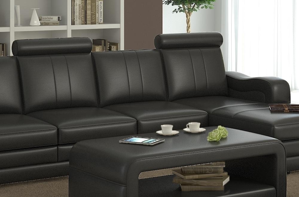 canap d 39 angle en cuir italien 5 places romana noir mobilier priv. Black Bedroom Furniture Sets. Home Design Ideas