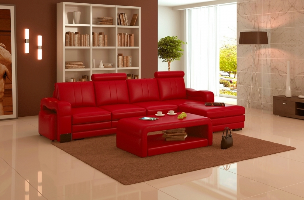 Canap d 39 angle en cuir italien 5 places romana rouge for Canape angle cuir rouge