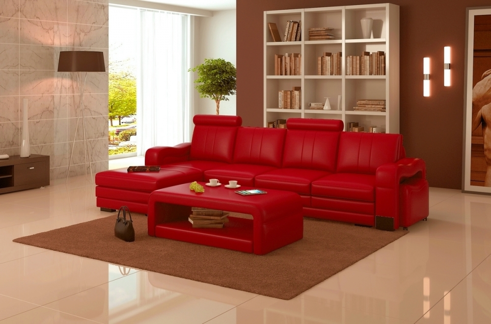 canap d 39 angle en cuir italien 5 places romana rouge mobilier priv. Black Bedroom Furniture Sets. Home Design Ideas