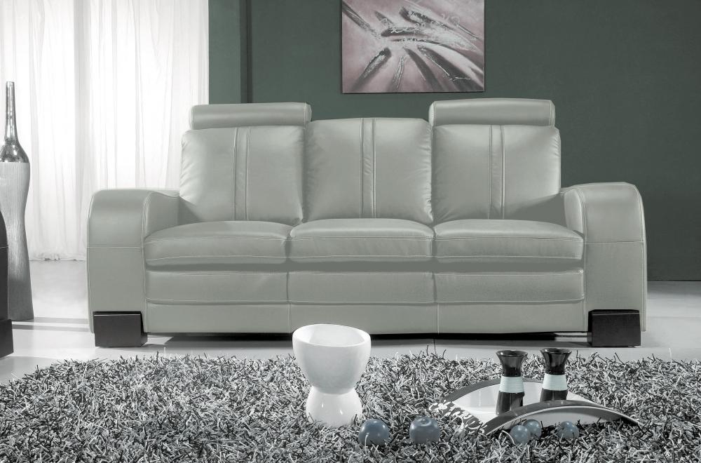 canap 3 places en cuir italien rosso gris clair mobilier priv. Black Bedroom Furniture Sets. Home Design Ideas