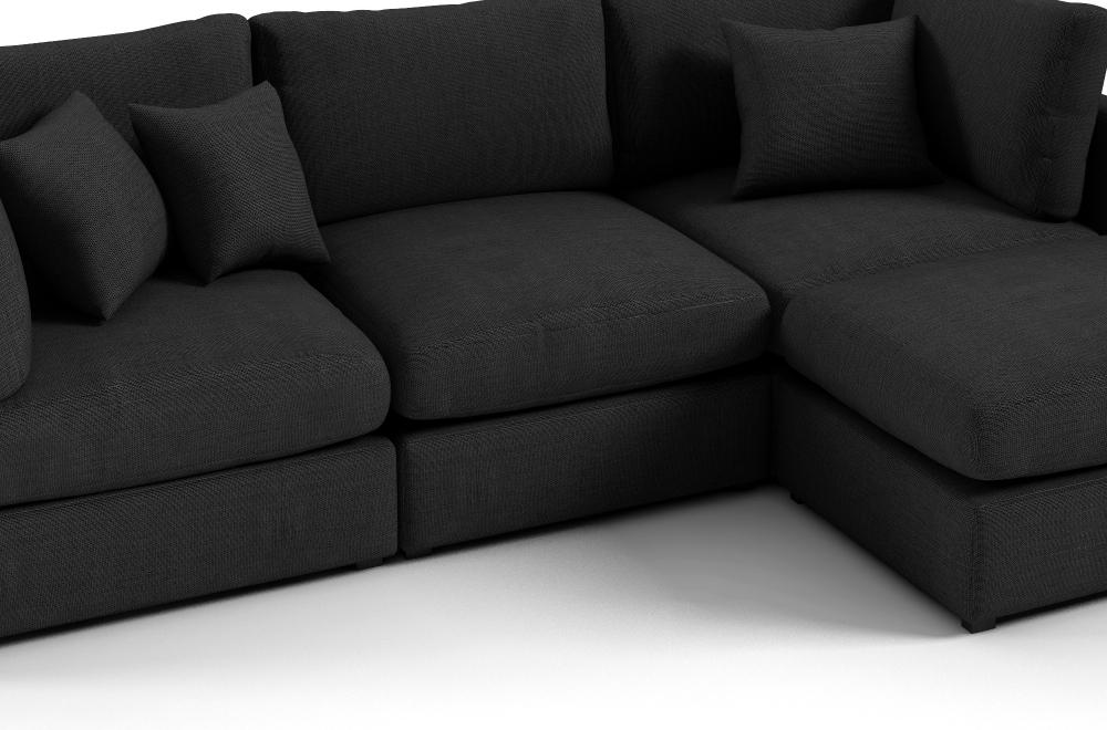 Canap d 39 angle en tissu de qualit sandro noir mobilier priv - Canapes de qualite ...