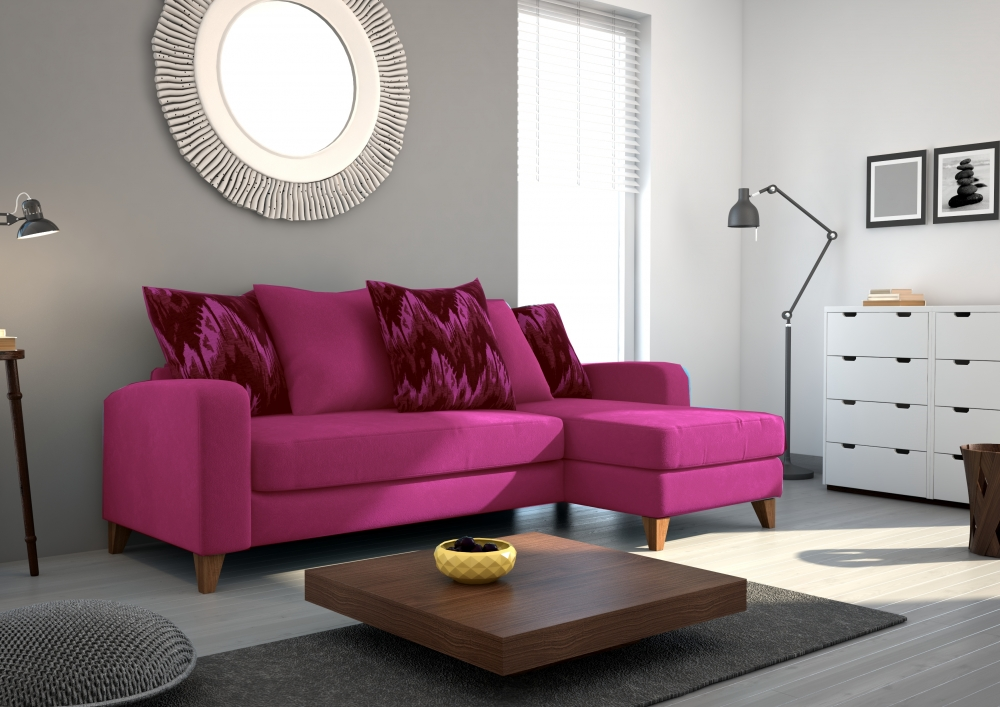 canap d 39 angle en tissu de qualit saturne rose fuschia mobilier priv. Black Bedroom Furniture Sets. Home Design Ideas