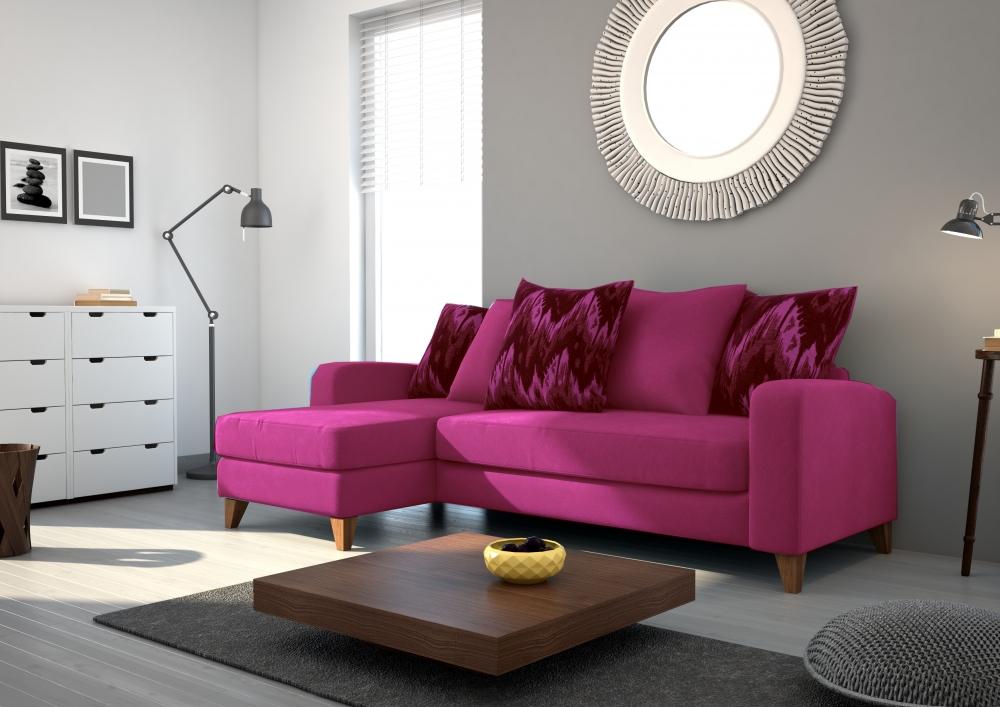 canap d 39 angle en tissu de qualit saturne rose fuschia mobilier priv. Black Bedroom Furniture Sets. Home Design Ideas