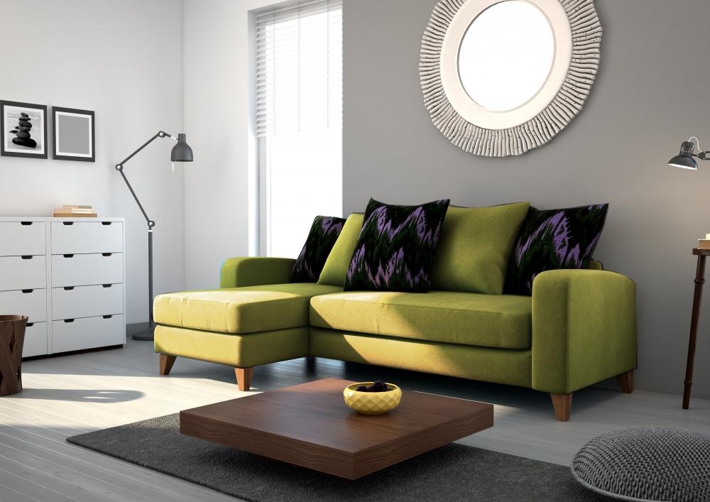 canap d 39 angle en tissu de qualit saturne vert olive mobilier priv. Black Bedroom Furniture Sets. Home Design Ideas