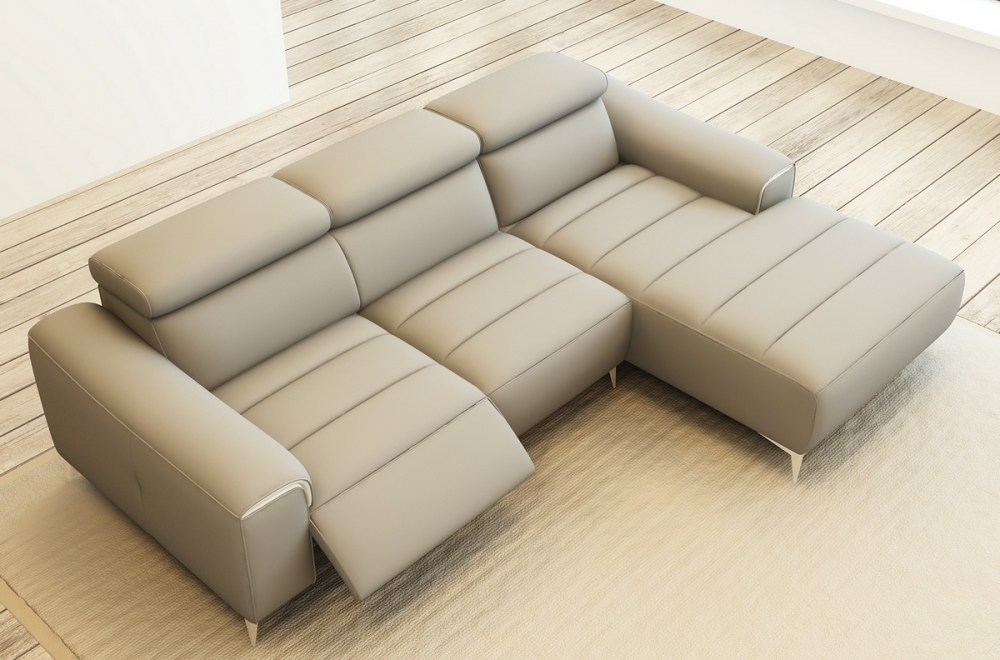 canap dangle fonction relax en cuir italien 5 places serenity gris clair - Canape Angle Relax