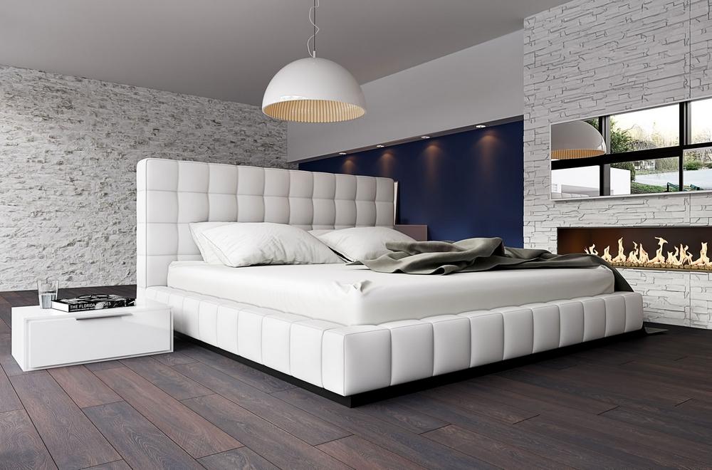 Lit design en cuir italien de luxe SILVER, blanc, 140x190