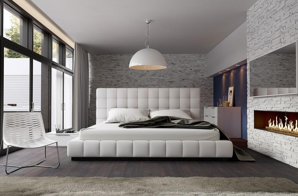 Lit Design En Cuir Italien De Luxe Silver Blanc 180x200