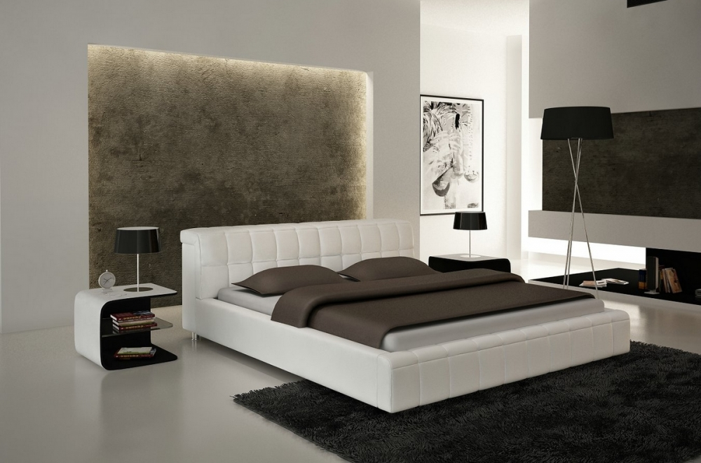 lit design en cuir italien de luxe smiley blanc mobilier priv. Black Bedroom Furniture Sets. Home Design Ideas