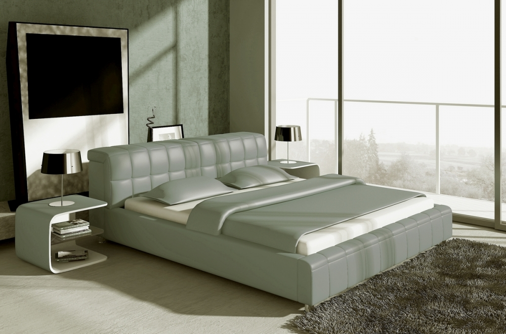 lit design en cuir italien de luxe smiley gris clair. Black Bedroom Furniture Sets. Home Design Ideas