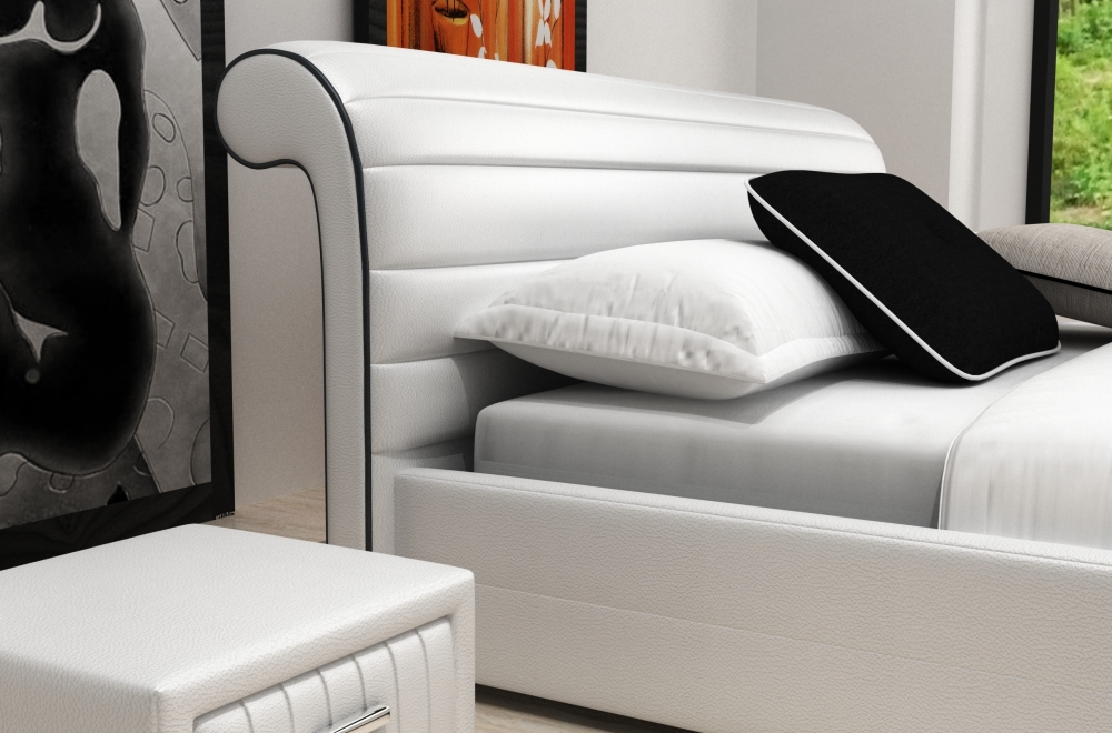 lit design en cuir italien de luxe spirit blanc mobilier priv. Black Bedroom Furniture Sets. Home Design Ideas