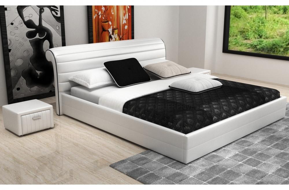 Lit design en cuir italien de luxe spirit blanc mobilier priv - Lit design cuir blanc ...