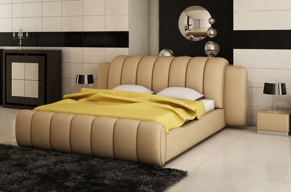 lit design en cuir italien de luxe splendide beige. Black Bedroom Furniture Sets. Home Design Ideas
