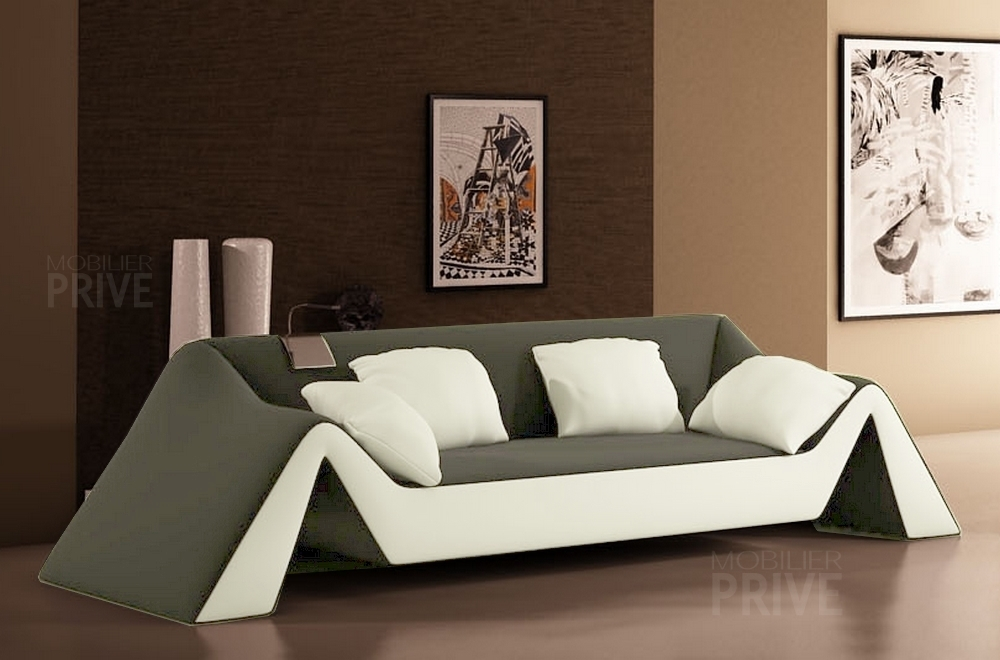 canap 3 places en cuir italien stefano gris fonc et blanc mobilier priv. Black Bedroom Furniture Sets. Home Design Ideas