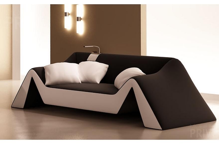 Canapé 2 places en cuir italien stefano noir et blanc Mobilier Privé