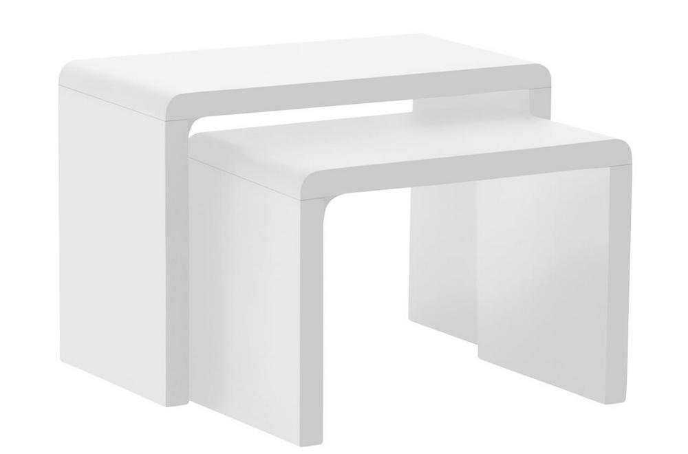 Table basse SULLY, gigogne, haute brillance, blanc