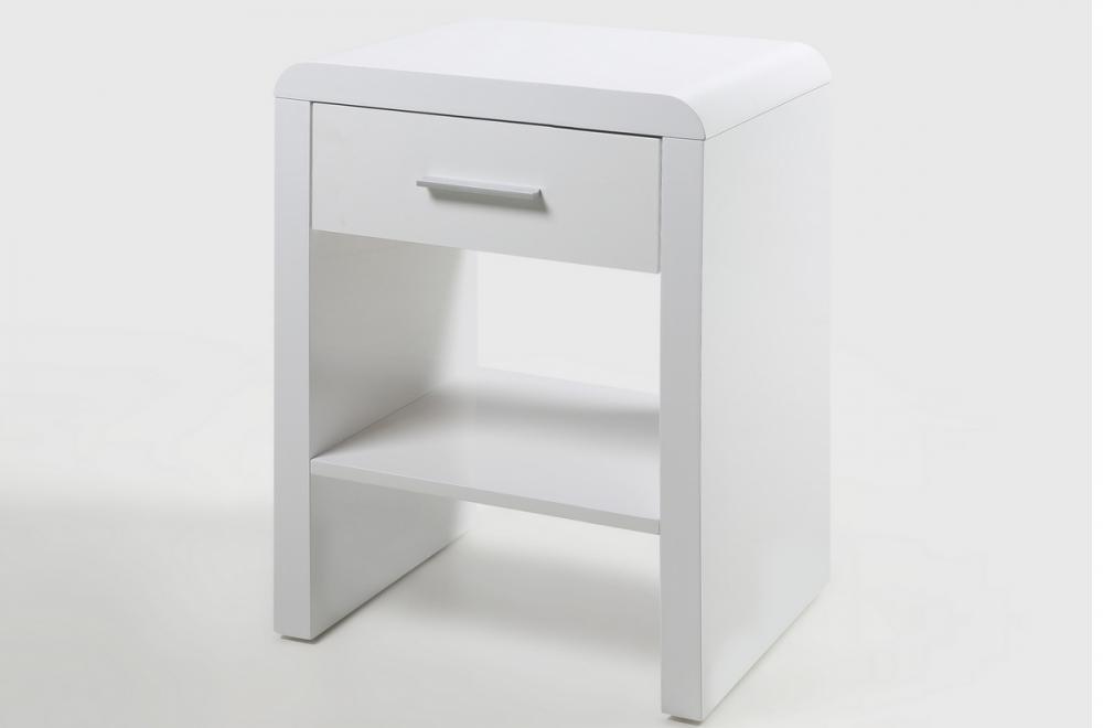 Chevet blanc laqu brillant design actuel sully for Mobilier actuel