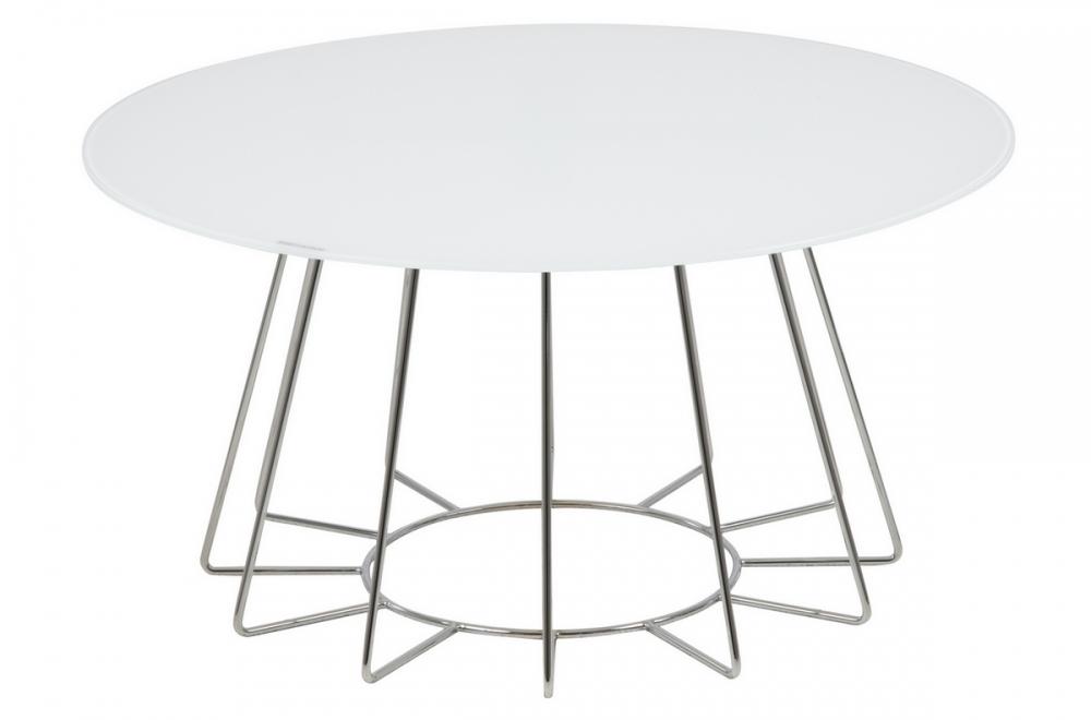 Table Basse Design Plateau De Verre Blanc Hauteur Réglable Casini
