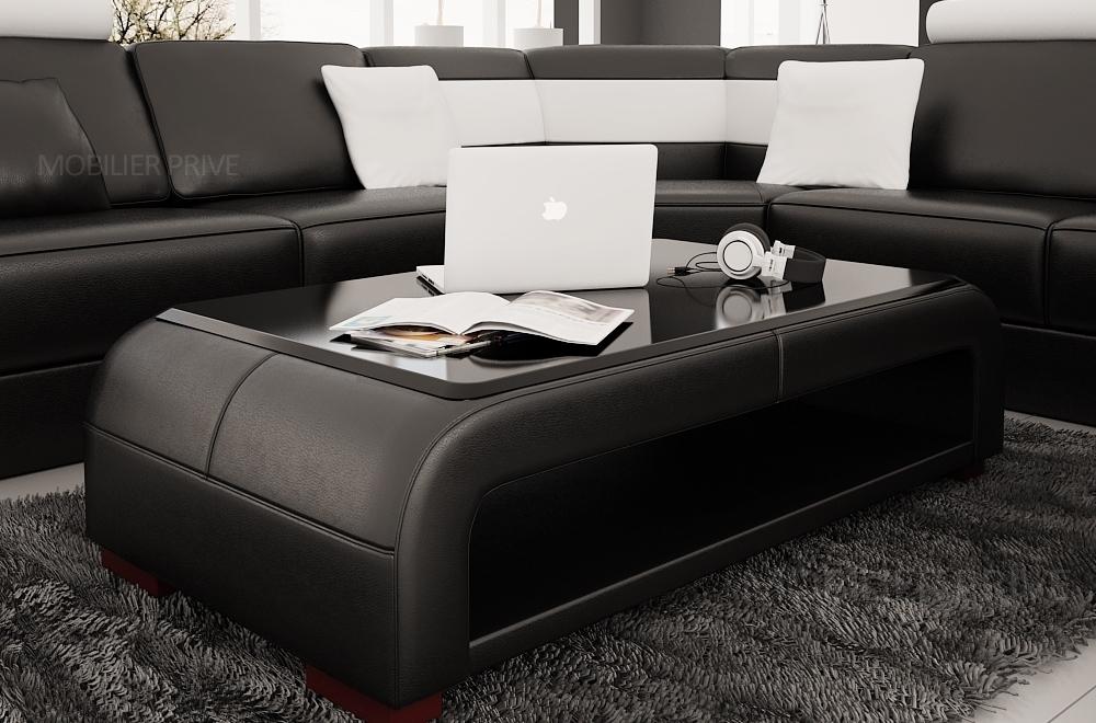 Table basse design jersey, noire  Mobilier Privé -> Table Basse Simili Cuir
