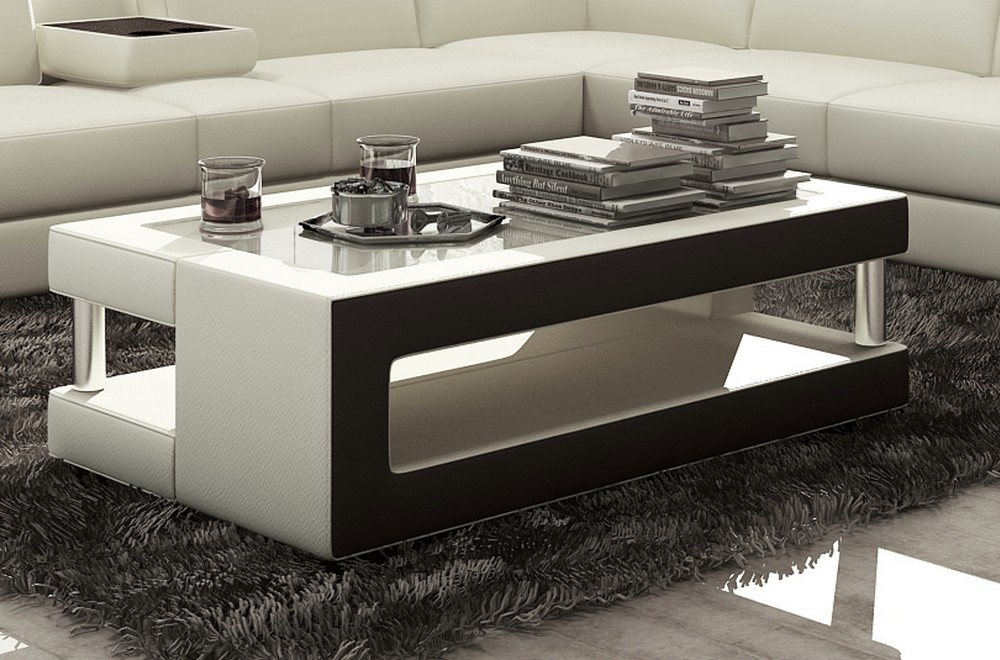 Table basse design de qualit blanc et noir xeri mobilier priv - Table basse luxe design ...