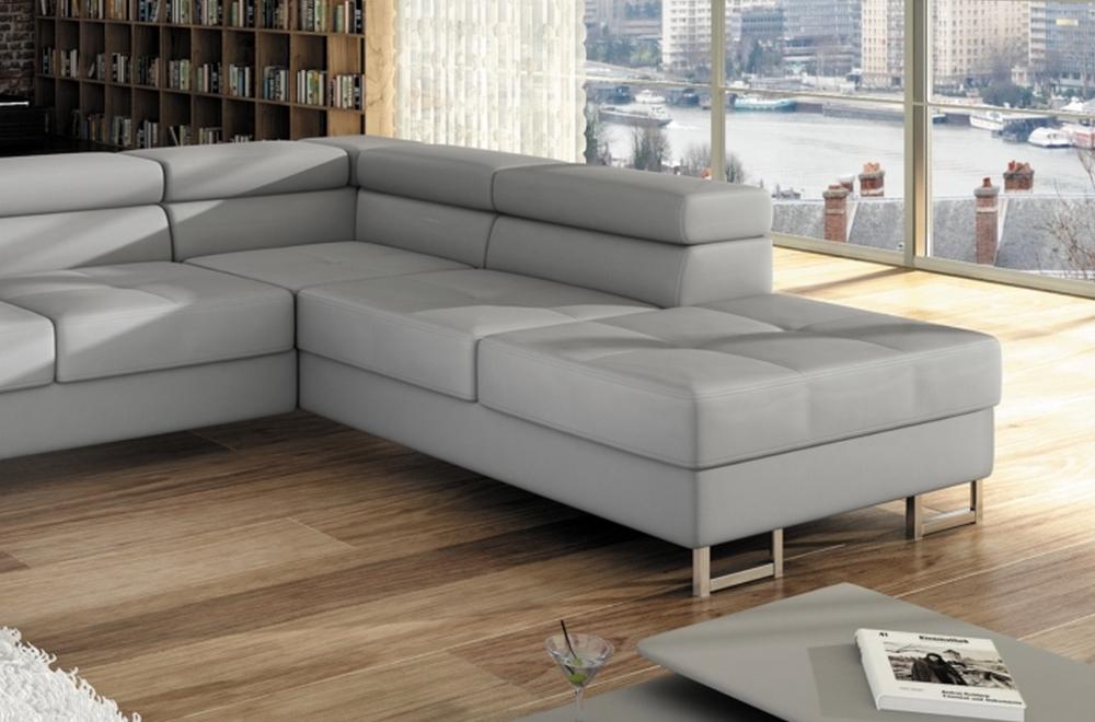 Canap d 39 angle convertible turin en simili cuir de qualit gris clair mobilier priv - Canapes de qualite ...