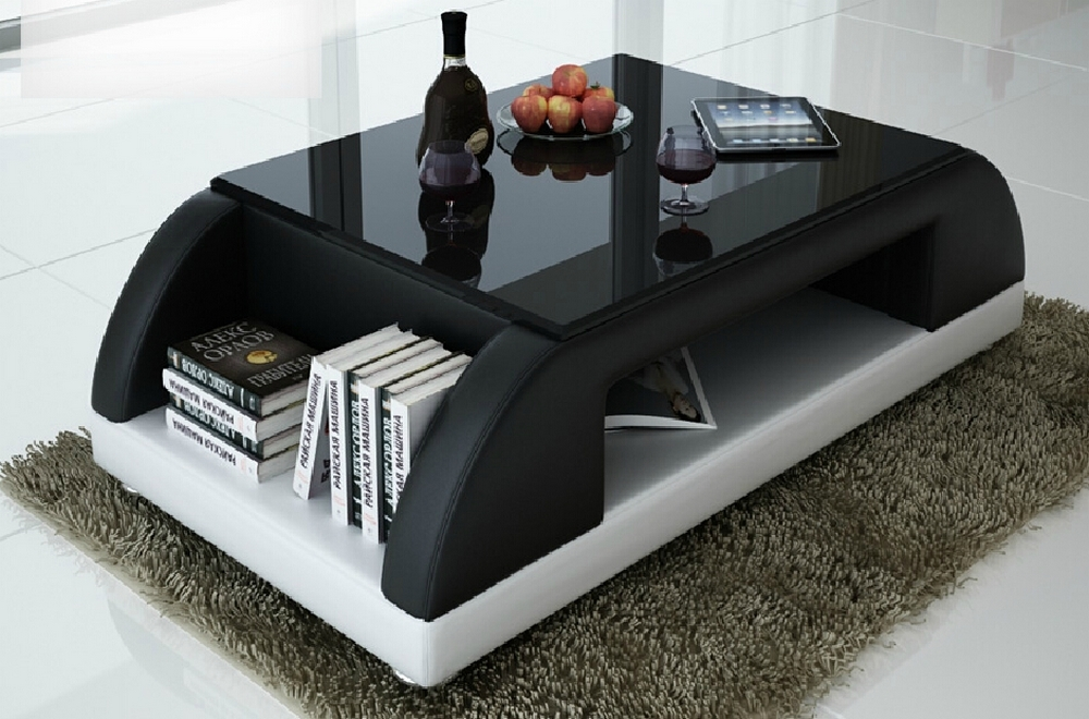 Table basse noir design - Table basse noir et blanc laque ...