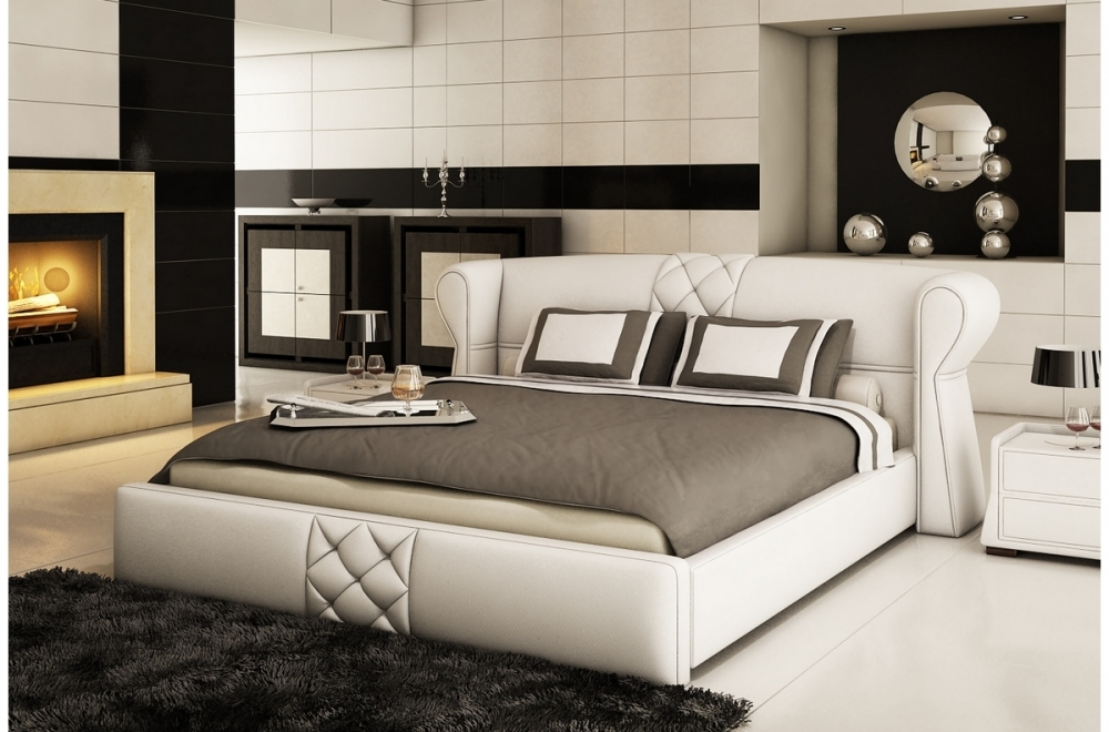 lit design en cuir italien de luxe vegas blanc mobilier priv. Black Bedroom Furniture Sets. Home Design Ideas
