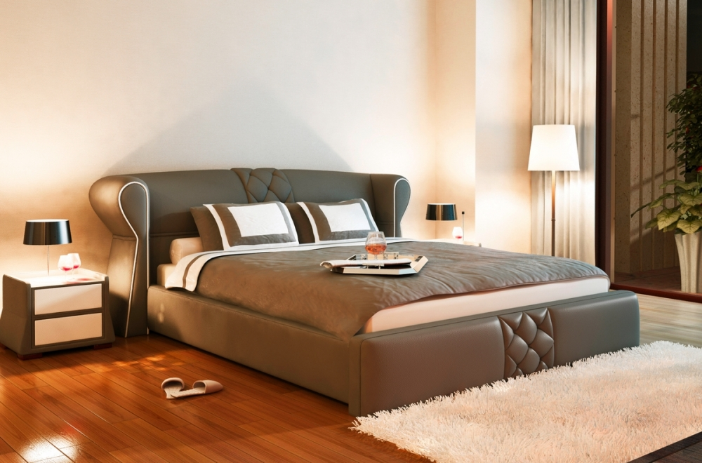 lit design en cuir italien de luxe vegas chocolat. Black Bedroom Furniture Sets. Home Design Ideas