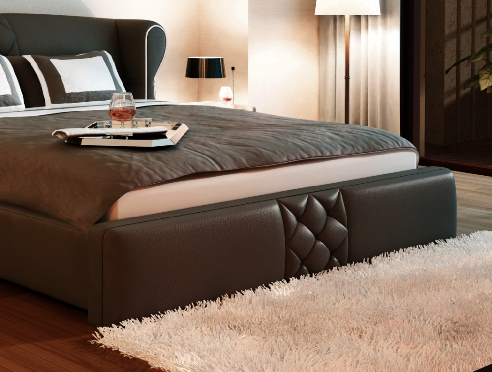 lit design en cuir italien de luxe vegas chocolat mobilier priv. Black Bedroom Furniture Sets. Home Design Ideas
