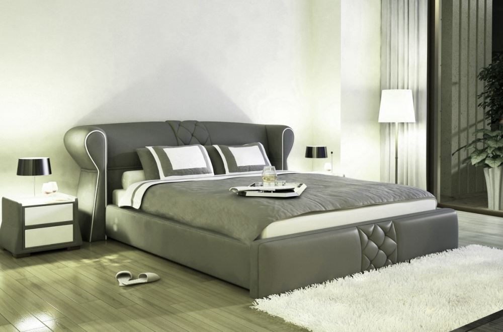 lit design en cuir italien de luxe vegas gris fonc. Black Bedroom Furniture Sets. Home Design Ideas