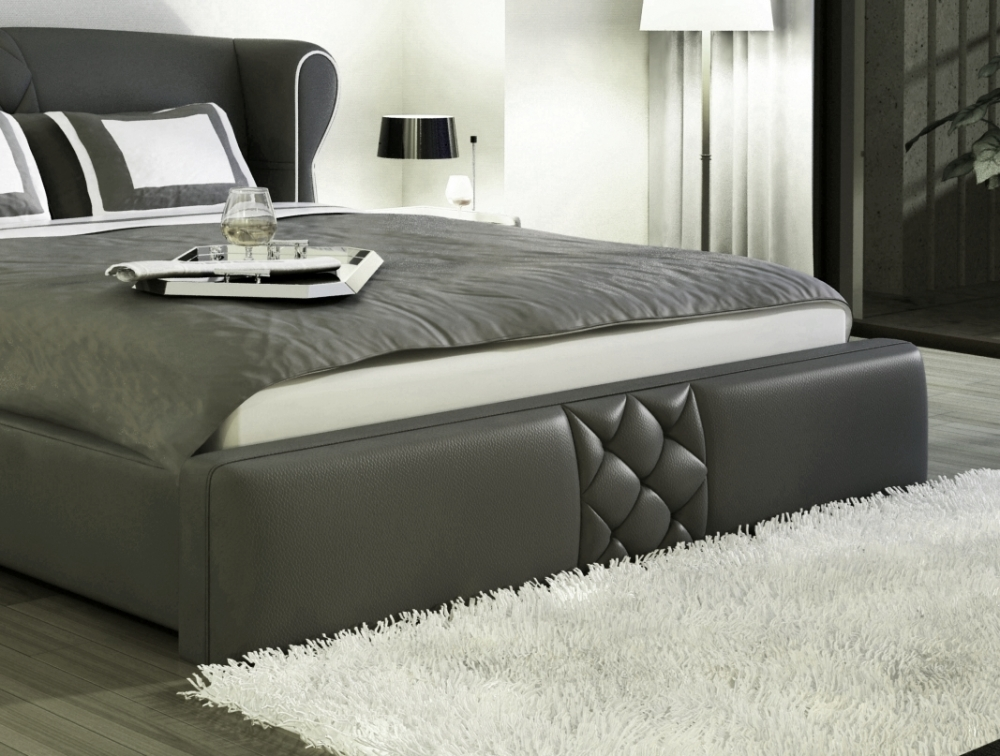 lit design en cuir italien de luxe vegas gris fonc mobilier priv. Black Bedroom Furniture Sets. Home Design Ideas