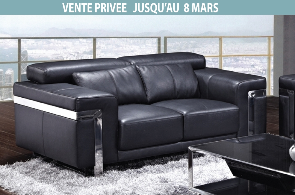 canap 2 places en cuir italien astoria noir mobilier priv. Black Bedroom Furniture Sets. Home Design Ideas