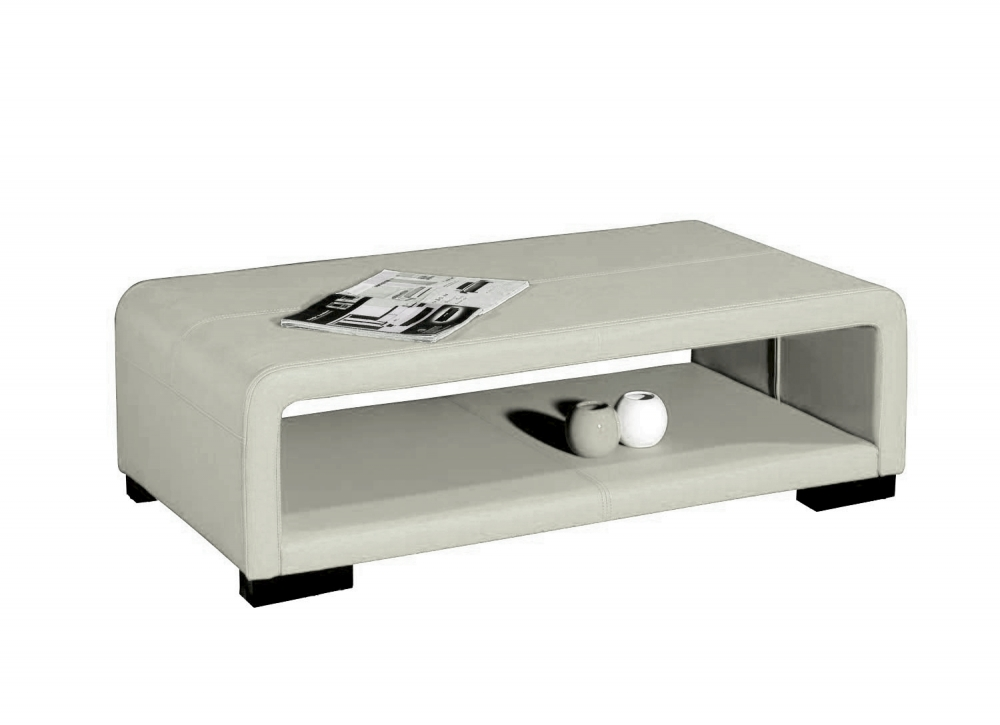 table basse en cuir italien vera blanc mobilier priv. Black Bedroom Furniture Sets. Home Design Ideas
