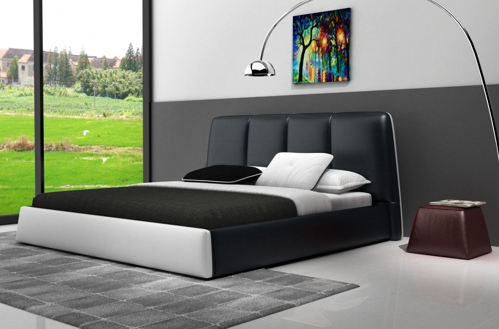 lit design en cuir italien de luxe verdi noir et blanc. Black Bedroom Furniture Sets. Home Design Ideas