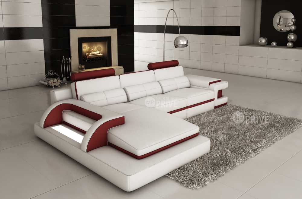 canap d 39 angle en cuir italien 6 places vinoti blanc et bordeaux mobilier priv. Black Bedroom Furniture Sets. Home Design Ideas
