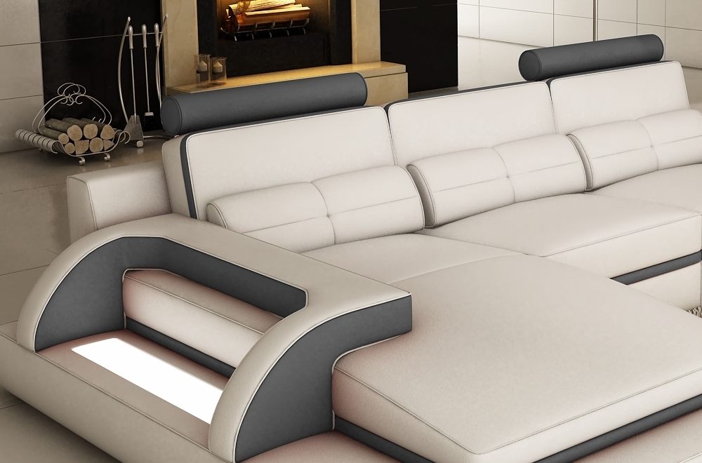 canap d 39 angle en cuir italien 6 places vinoti blanc et gris fonc mobilier priv. Black Bedroom Furniture Sets. Home Design Ideas