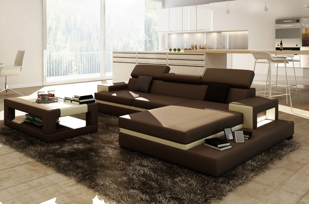 canap d 39 angle en cuir italien 5 places wagram chocolat. Black Bedroom Furniture Sets. Home Design Ideas
