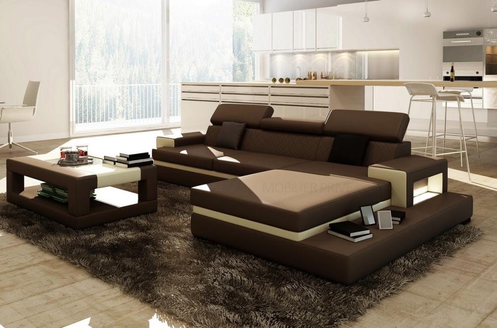 Canapé d'angle en cuir italien 5 places wagram, chocolat ...