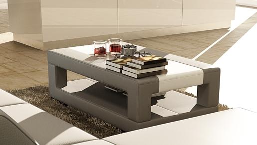 table basse en cuir italien wagram gris fonc et blanc mobilier priv. Black Bedroom Furniture Sets. Home Design Ideas