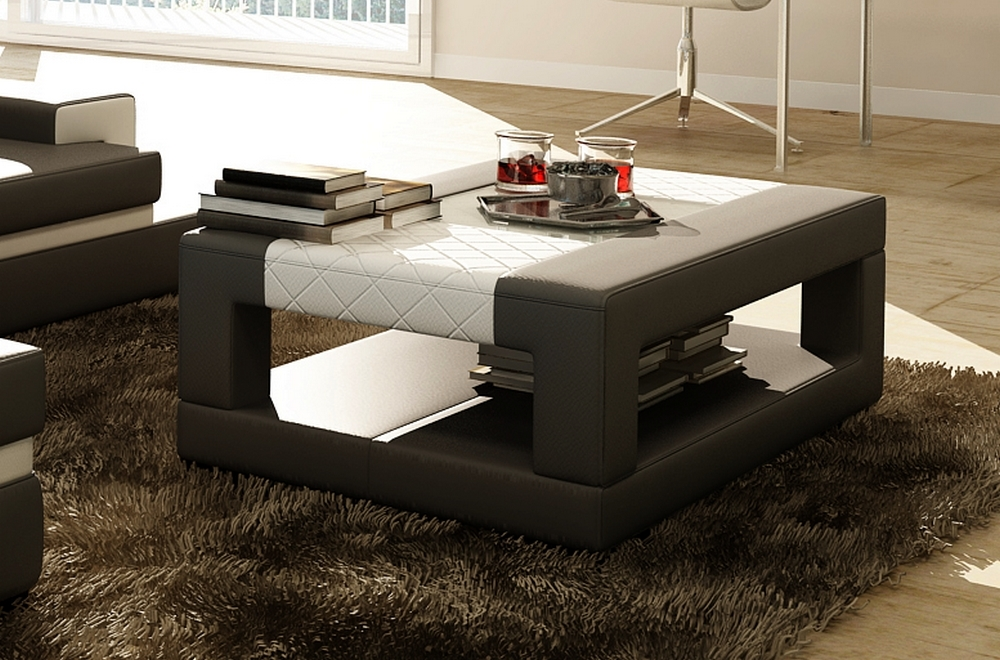 table basse en cuir italien wagram gris fonc et blanc. Black Bedroom Furniture Sets. Home Design Ideas