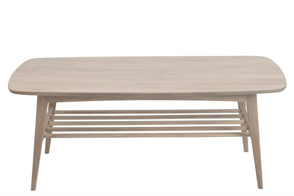 Table basse WANDY, plateau en bois pigmenté clair