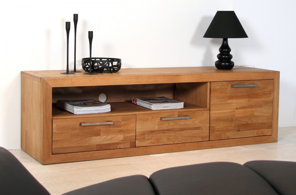 meuble tv contemporain en bois massif welson mobilier priv. Black Bedroom Furniture Sets. Home Design Ideas