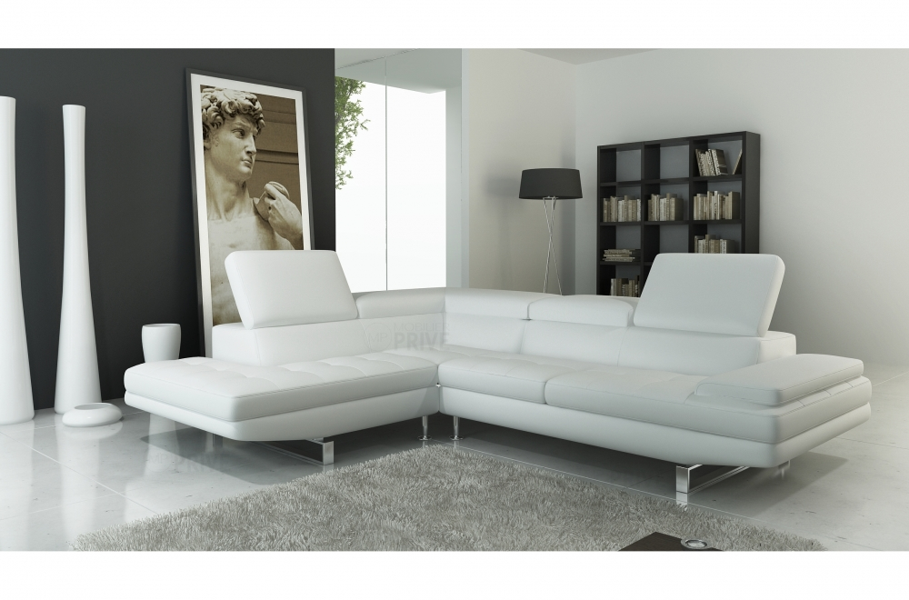 canap d 39 angle en cuir italien 6 places birkin blanc mobilier priv. Black Bedroom Furniture Sets. Home Design Ideas