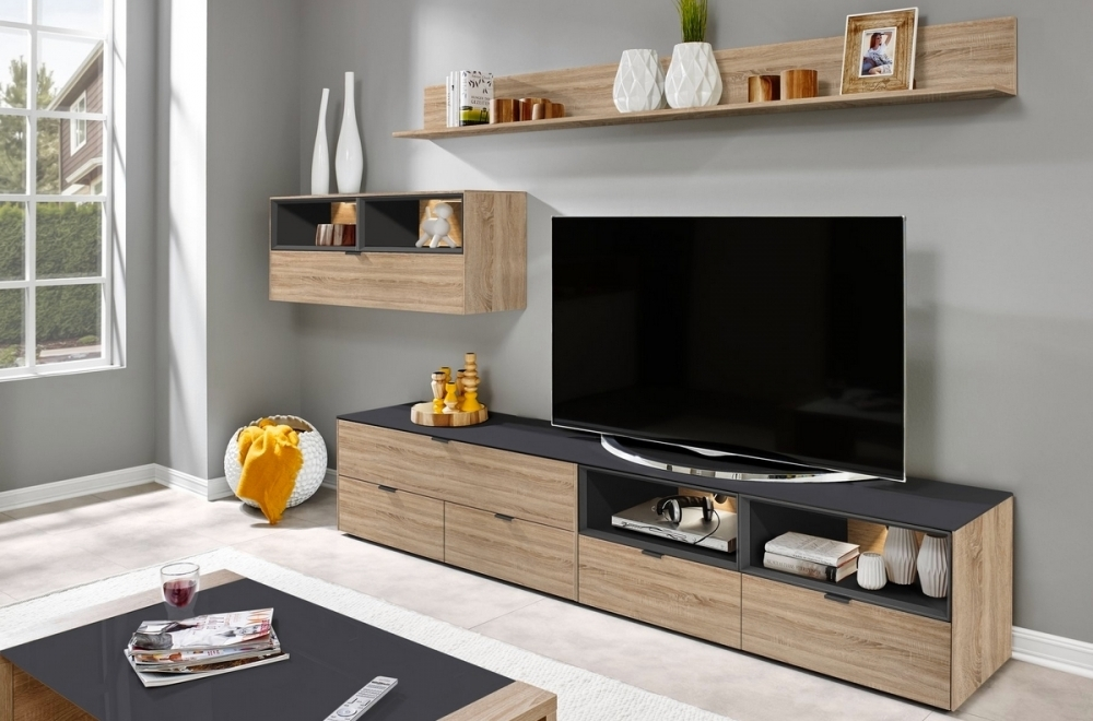 mur tv design finition ch ne et anthracite yansen mobilier priv. Black Bedroom Furniture Sets. Home Design Ideas