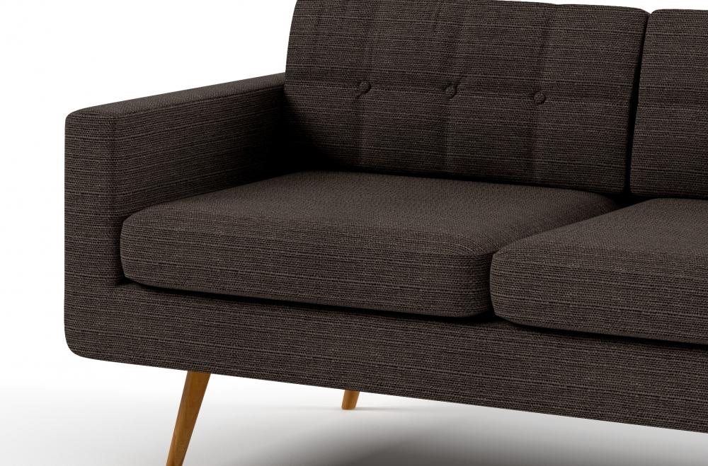 Canap 2 places en tissu de qualit yvon chocolat mobilier priv - Canapes de qualite ...