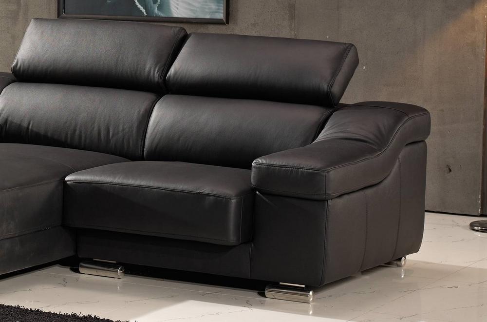 Canap d 39 angle en cuir buffle italien de luxe zendo noir - Canape cuir buffle italien ...
