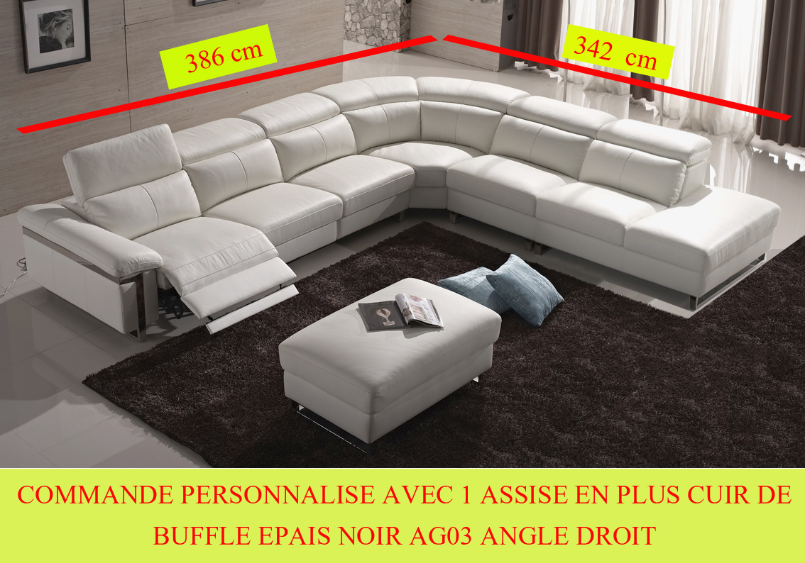 Salon Cuir Buffle Italien commande personnalise sur demande canapé d'angle relax en cuir buffle epais  italien, de luxe relaxino avec 1 assise en plus , noir ag03, angle droit